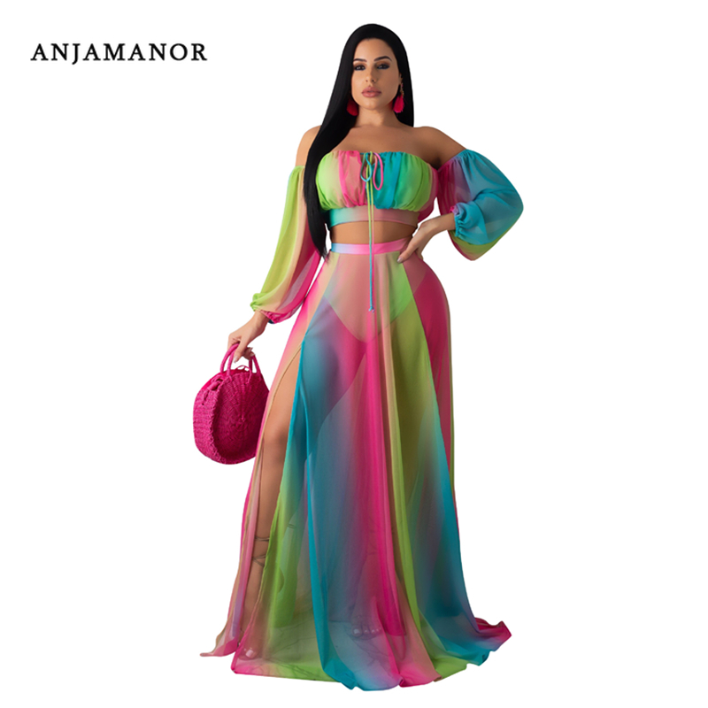 ANJAMANOR Mesh Chiffon Tie Dye Print Sexy Matching Sets 2 Piece Set Long Sleeve Shirt Skirt Sexy Summer Beach Outfits D29-AG48