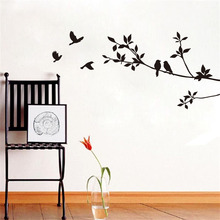 Diy Birds On Tree Branches Vinyl Wall Sticker Waterproof Removable Home Decoration Bedroom Wall Art Classical Black Bird Sticker стоимость