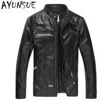 AYUNSUE, роскошная мужская кожаная куртка, парка, мода, натуральная кожа, куртки, черная козья кожа, Jaqueta De Couro, мужское пальто, FYY581
