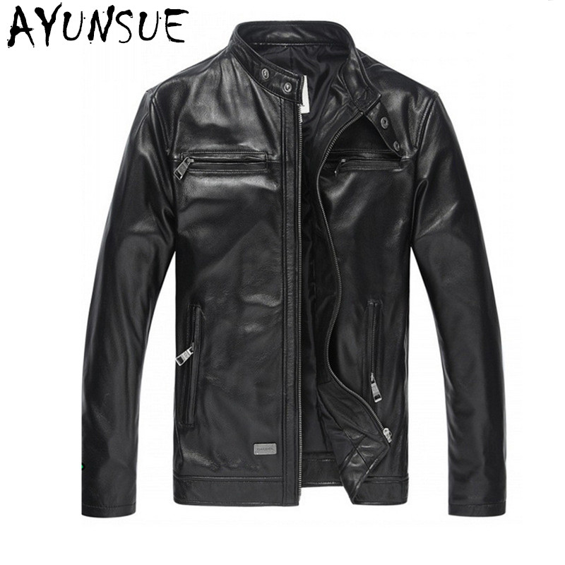AYUNSUE Luxury Men Leather Jacket Parka Fashion 2020 Genuine Leather Jackets Black Goat Skin Jaqueta De Couro Male Coat FYY581