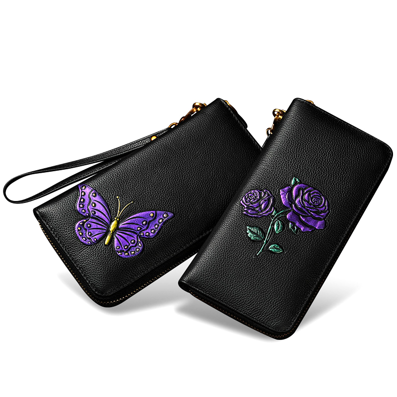 AOEO Wallet Women Genuine Leather 3D Butterfly With Wristlet Long Design Ladies Clutch Phone Bag Slim Purse Luxury Female