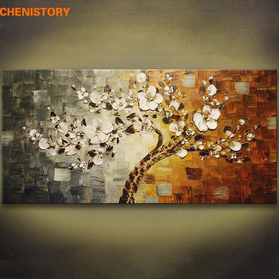 unframed hand painted palette knife painting flower modern. Black Bedroom Furniture Sets. Home Design Ideas