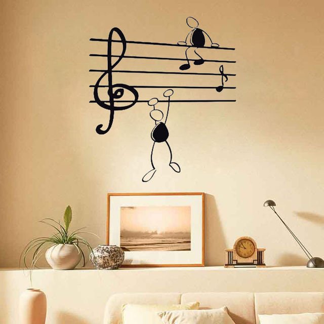 Wall Stickers Decor Bedroom Decals Removable Vinyl Art Wallpaper Custom Music Note Symbol Simple Pen