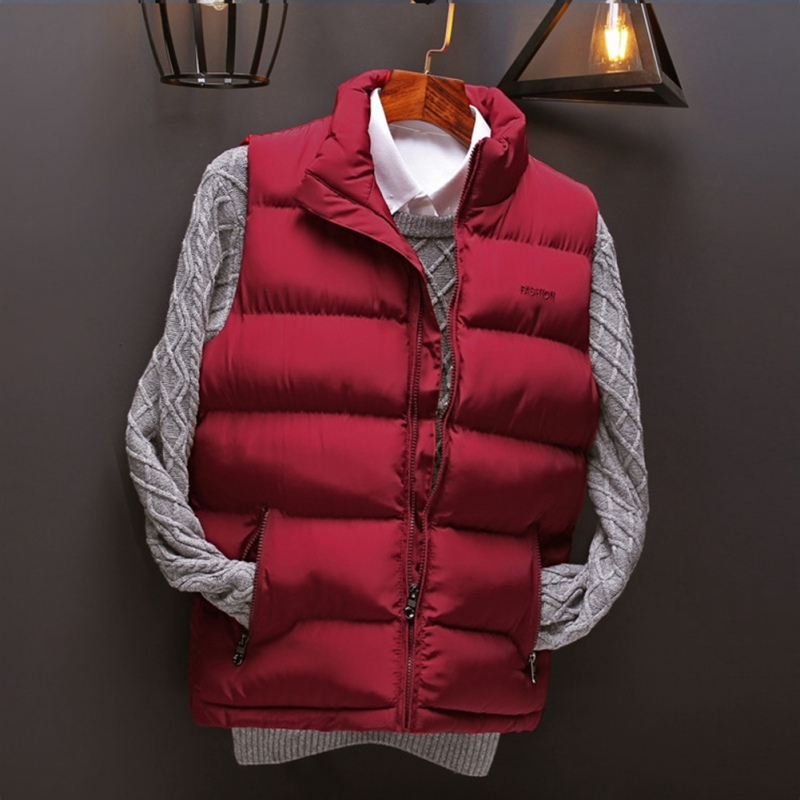 Men Sleeveless Wool Cotton Jacket Winter Down Male Slim Windproof Warm Waistcoat Windbreaker Europe Plus size
