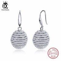 ORSA JEWELS 925 Genuine Silver Drop Earrings Women Dangle Hook Round Shape Female Earring Fashion Shiny