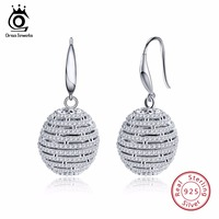 ORSA JEWELS 925 Genuine Silver Drop Earrings Women Dangle Hook Round Shape Female Earring Fashion Shiny