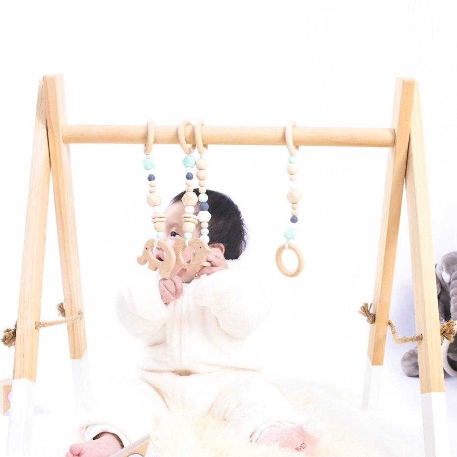 Style nordique moderne en bois bébé Gym bébé activité Center jouer Gym avec Animal nouveau-né cadeau décor maison bébé chambre bébé lit cloche