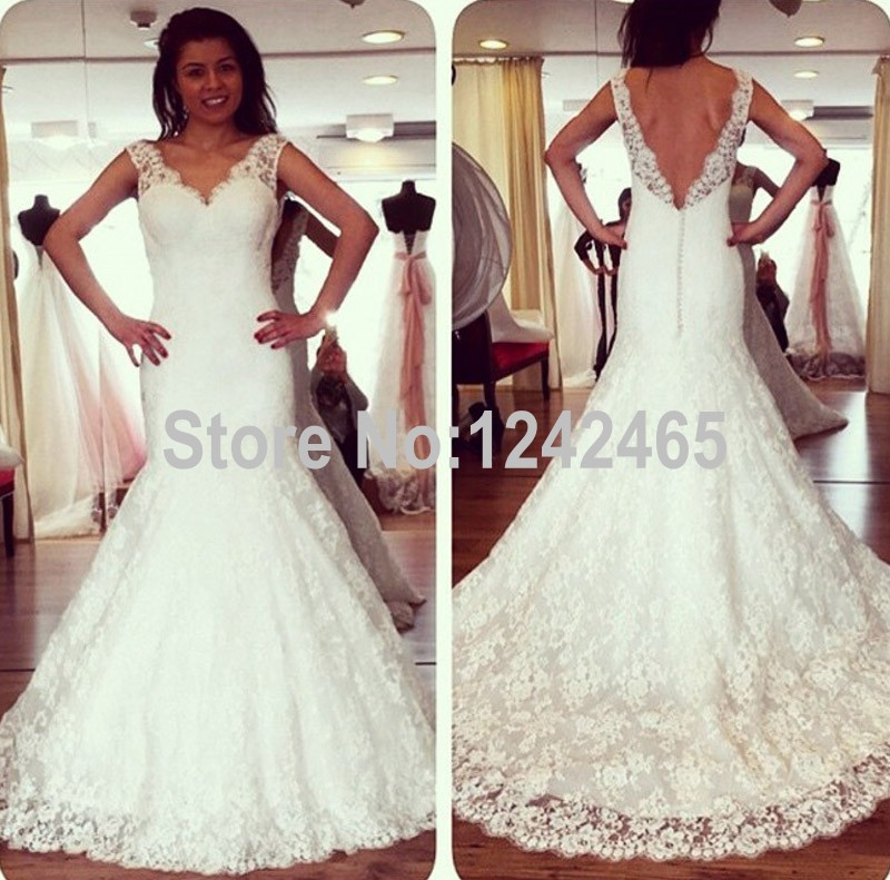 47194b37ad US $249.0 |Fishtail V Neck Latest Western Wedding Dress Patterns Sweep  Train Sexy Low Back Lace Mermaid Bridal Dresses Size 8 MC247-in Wedding  Dresses ...
