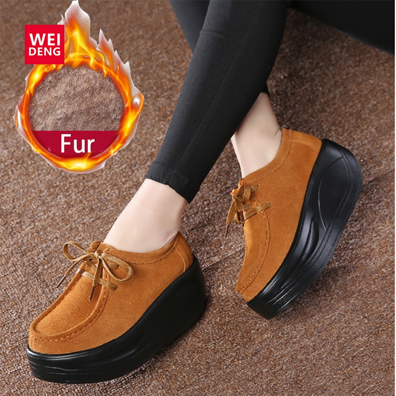 WeiDeng Fur Insole Winter Platform   Leather     Suede   Shake Shoes Warm Cow Casual Lace Up Casual High Outdoors Elegant Creepers