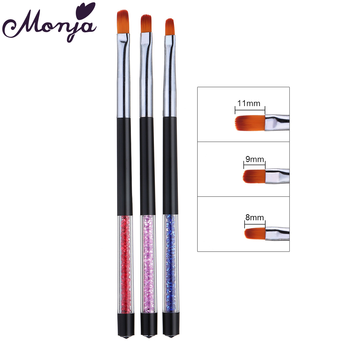 Monja 3 Pcs/Set Nail Art Rhinestone Handle Polish UV Gel Extension Painting Brush Pattern Design DIY Drawing Pen Manicure Tools