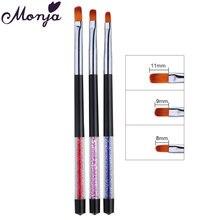 Monja 3 Pz/set Unghie Artistiche Strass Handle Polacco UV DEL Gel di Estensione Pennello di Pittura Modello di Design Fai Da Te DISEGNO A Penna di Strumenti per Manicure