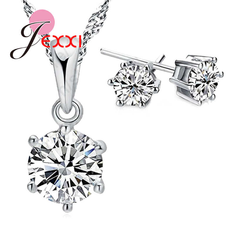Top Quality Wedding Jewelry Set  Austria Crystal Stud  Earrings Necklace 925 Sterling Silver Pendant Necklace