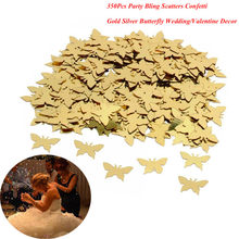 Hot Sale 350pcs Table Party Scatters Confetti Gold Silver Butterfly Wedding Decor Free Shipping(China)