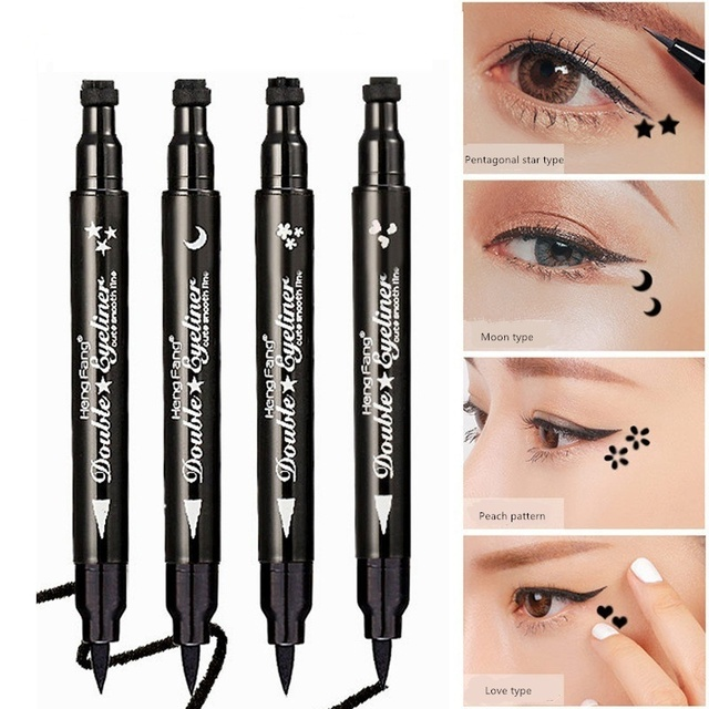 New Long Lasting Double Headed Black Seal Eyeliner Stamp Tattoo Eyes Liner Makeup Moon Star Shape Diy Eye Pencil Cosmetic
