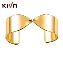 KIVN Fashion Jewelry Plain Smooth Twisted Open Bangle Cuff Bracelets for Women Girls Promotion Mothers Birthday Christmas Gifts