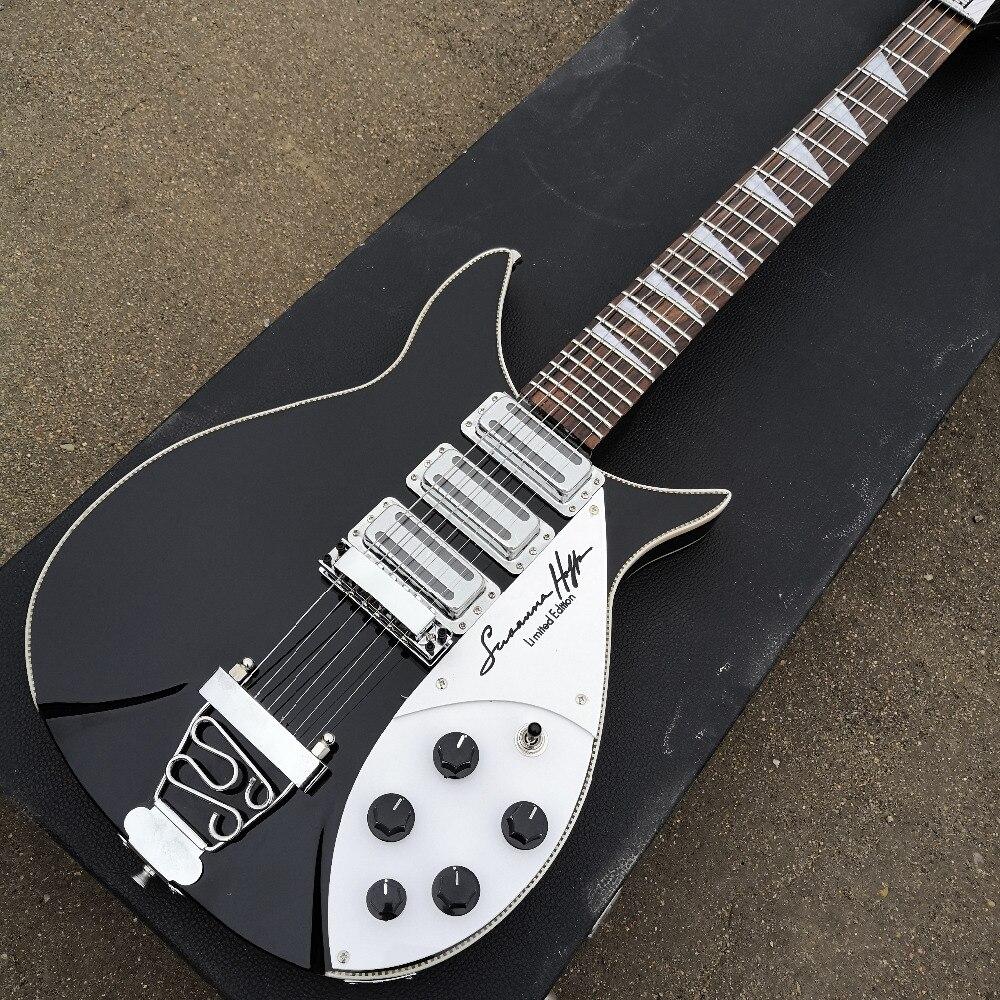 Guitarra Eléctrica modelo 350, el tablero de dedos tiene pintura brillante, parte delantera y trasera del cuerpo están atados, ¡fotos reales!