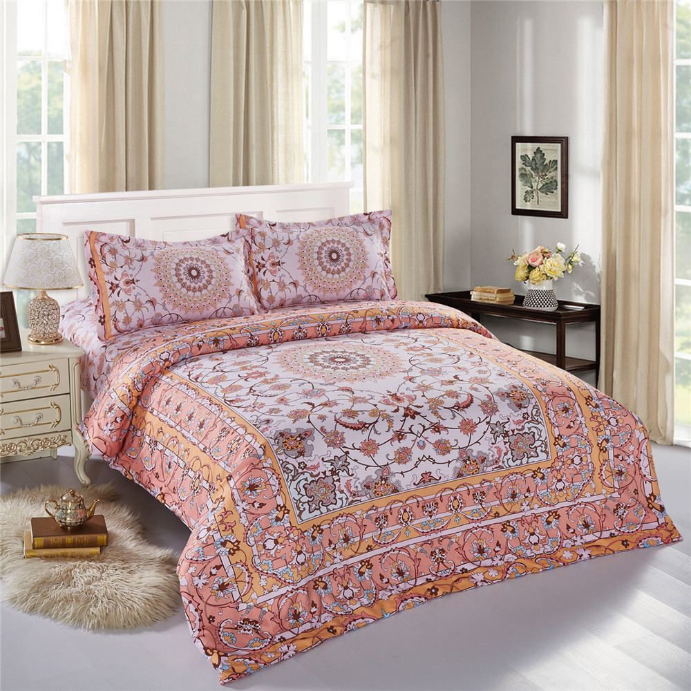 Brazilian embroidery bedspread designs - New Design Bohemian Style Sheets Sets Linens Multicolor Abstract Flowers Bedspread Queen Full Size Quilt Cover