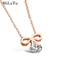 MILATU Charm Women Bow Necklaces Pendants Rose Gold Plated Stainless Steel Cubic Zirconia Necklace Jewelry Accessories