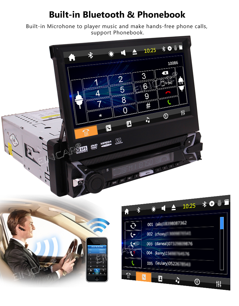 Clearance Capacitive Touch Screen Wince System Single 1 Din Car Stereo DVD Player Support GPS Navigation/USB/SD/Cam-in/Bluetooth/Steering 3