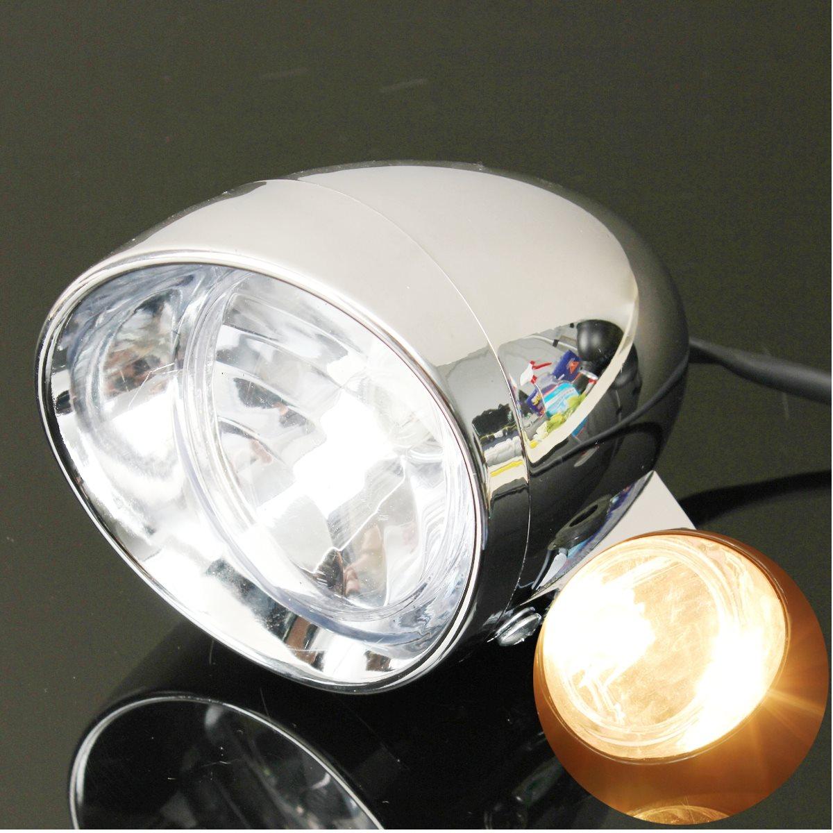 12V Universal Motorcycle MotorBike Round Headlight 4 Inch Chrome Lamp Amber Light Driving Fog Spot Light Lamp