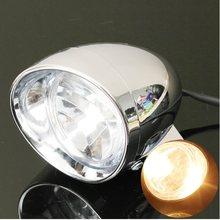 В 12 В Универсальный Мотоцикл Круглый фара дюймов 4 дюймов хром Лампа янтарный свет вождения туман пятно света Лампа