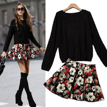2016 Spring Autumn Women Clothing Set,Knitted Pullover Sweater+Popular Mini Skirt,2 Piece Set Women SKirt Top Free Shipping