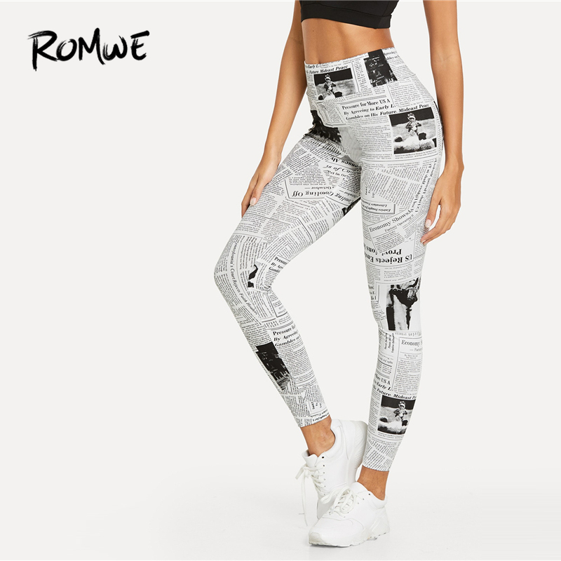 ROMWE Newspaper Print   Leggings   2019 Women Letter Chic Sexy Basic   Legging   Female Fitness Skinny Black And White   Leggings