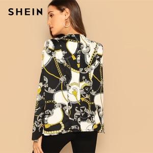 SHEIN عباءة كم سلسلة طباعة الرأس متعدد الألوان غير المتكافئة متعدد الألوان سترة 2018 Autunmn النساء مكتب السيدات معطف قميص