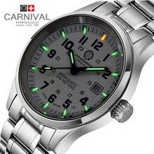 Famoso reloj de la marca militar tritio luz luminoso hombres de acero completo de buceo impermeable 200 M reloj de cuarzo correa de cuero relojes de marca de lujo