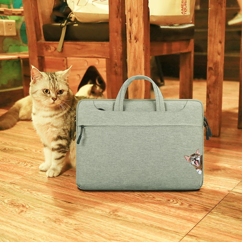 New Laptop Bag 12.5 13.3 inch for xiaomi air Laptop Sleeve Cat Print Lovely for women customized Laptop Shoulder Bag Gray Pink