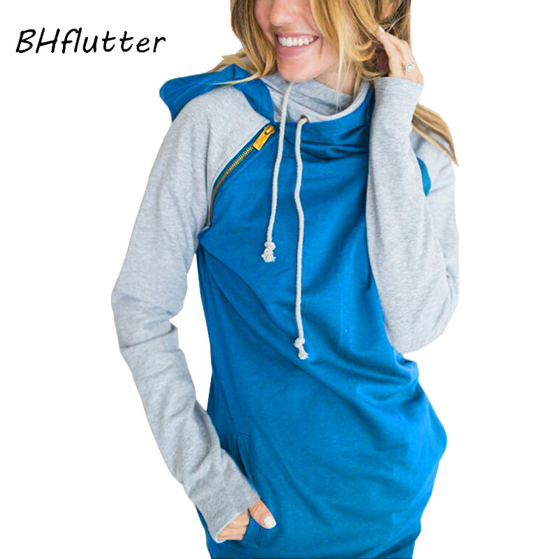 BHflutter Women Hoodies and Sweatshirts 2018 Side Zipper Double Hooded Autumn Sweatshirt Long Sleeve Casual Pullover Pull Femme