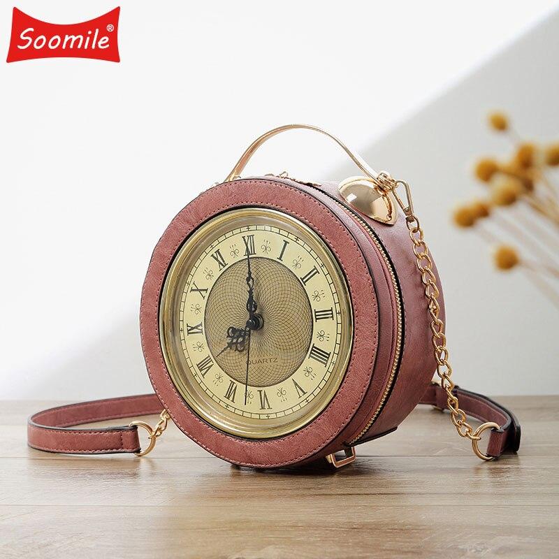 Personality Fun Fashion Clock Shape Leather Bag Circular Ladies Handbag Chain Purse Shoulder Bags Crossbody Messenger Bag Bolsa