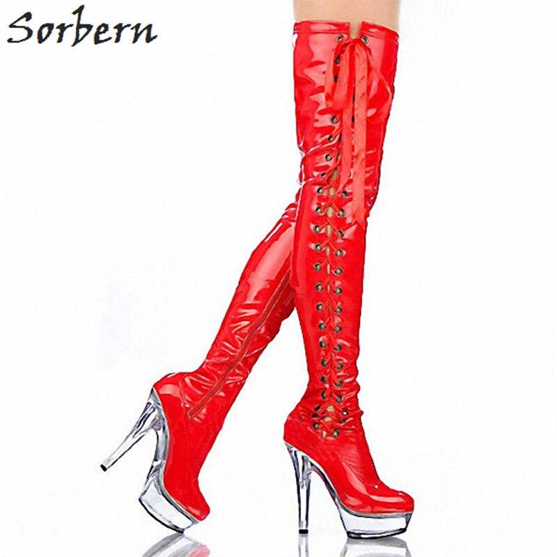 Sorbern Sexy Red Fetish Heels Boots Custom Leg Length Thigh High Boots Women15Cm High Heels Pole Dance Footwear Boots Shoes