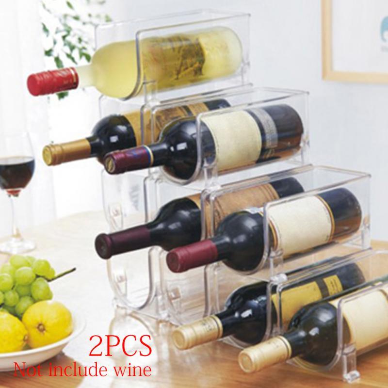 2pcs plastic Transparent Storage Bottle Wine Rack Kitchen ...