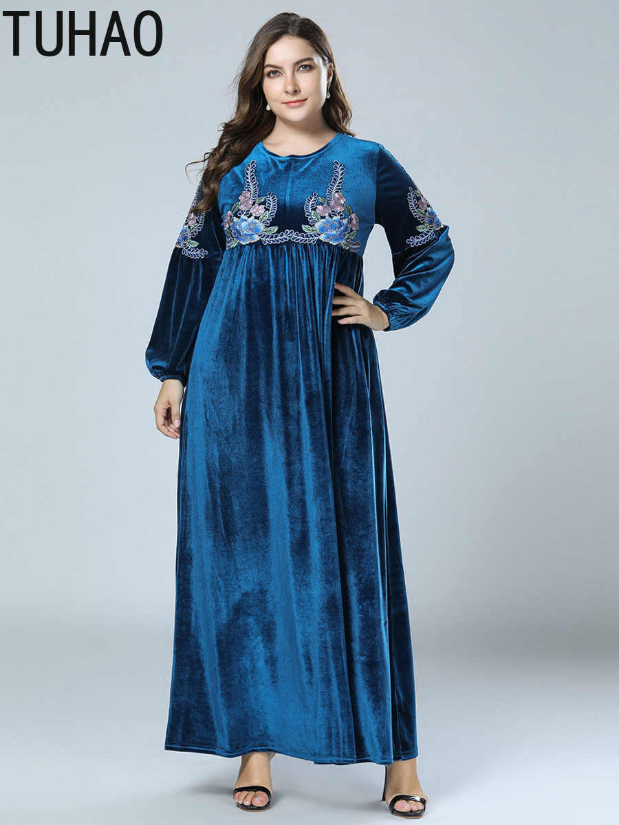 7ca8fbb8a2 TUHAO 2018 Autumn Winter Velvet Abaya Muslim Dress Women Plus Size 4XL 3XL  Dresses Vintage Retro Party Maxi Dresses Robe ZZL