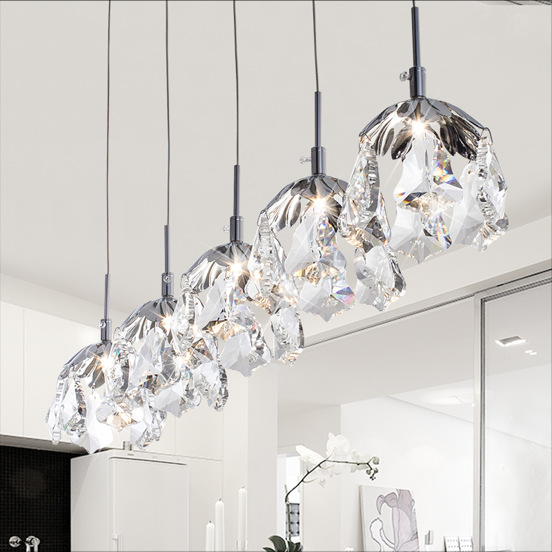 Modern brief personalized k9 crystal pendant light single head bar counter bedroom lamp G4 110v 220v