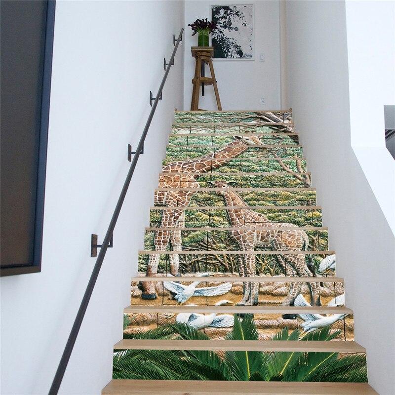 13 Pieces Set Creative Diy 3d Stairway Stickers Giraffe