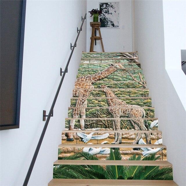 13 pièces/ensemble créatif bricolage 3D escaliers autocollants ...