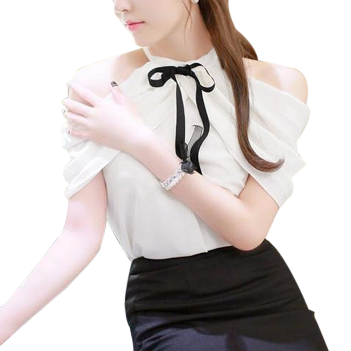 f28676d0e65b8 Chiffon Sexy Off Shoulder Tops 2018 Summer Sexy Blouses Boho Halter Neck  Bowknots Black White Solid Shirts Casual Elegant Women-in Blouses   Shirts  from ...