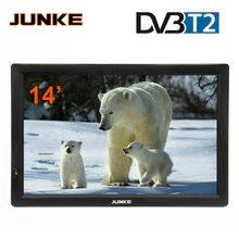 JUNKE HD przenośny telewizor 14 Cal cyfrowe i analogowe telewizory Led obsługa karty TF USB odtwarzacz audio wideo telewizja samochodowa DVB T2