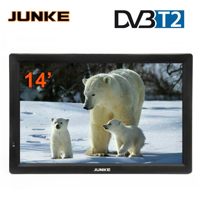 TV Portable JUNKE HD 14 pouces télévisions Led numériques et analogiques prise en charge de la carte TF lecteur Audio vidéo USB DVB-T2 de télévision de voiture