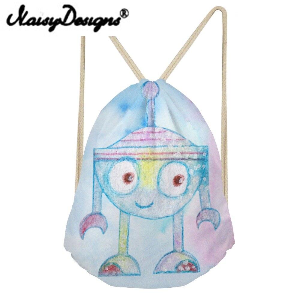 NOISYDESIGNS Beach Bags Robot Printing Kids Drawstring Backpack School Shopper For Girls Travel Birthday Gift Day Pack Mochila