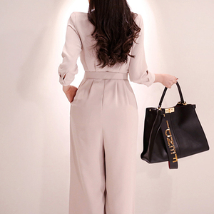Image 5 - H Han Queen Elegant Belted Waist Business Jumpsuits Women 2019 New Notched Neck Wide Leg Long Playsuits Casual Work Wear Rompers