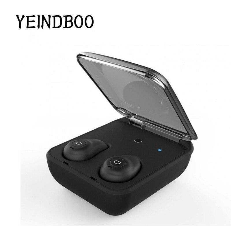 YEINDBOO MINI Bluetooth 4.1 Earphone Noise Reduction Bluetooth Headset for Mobile Phone Wireless Sports Bass Earphone