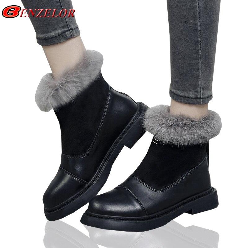 achat le plus récent sur des pieds à Beau design Benzelor Noir Mode Hiver Fourrure De Velours Femme Chaud ...