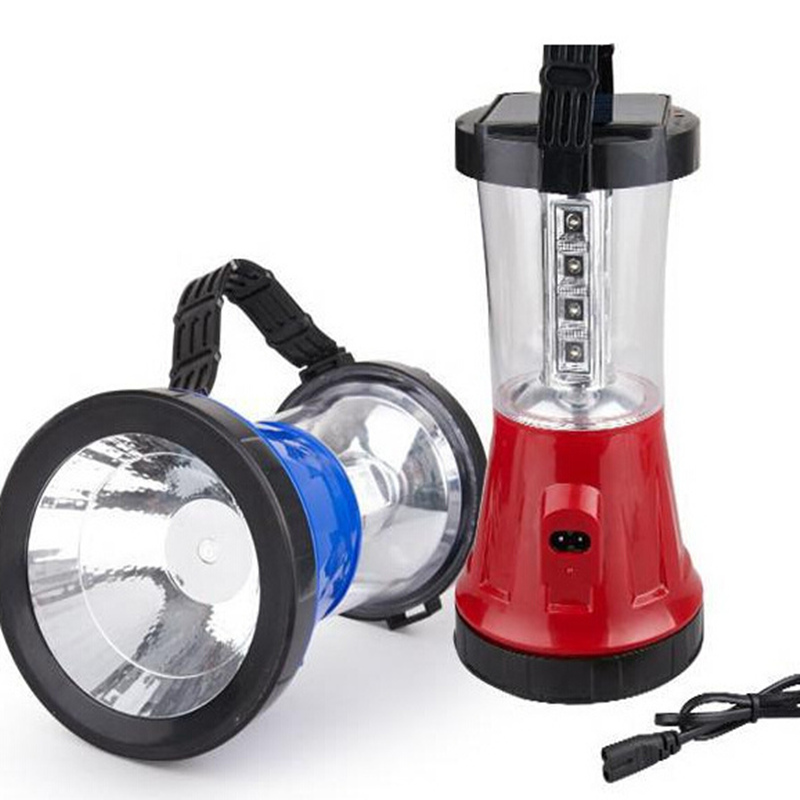 Portable LED rechargeable emergency light Solar AC hunting spotlights high brightness outdoor portable light