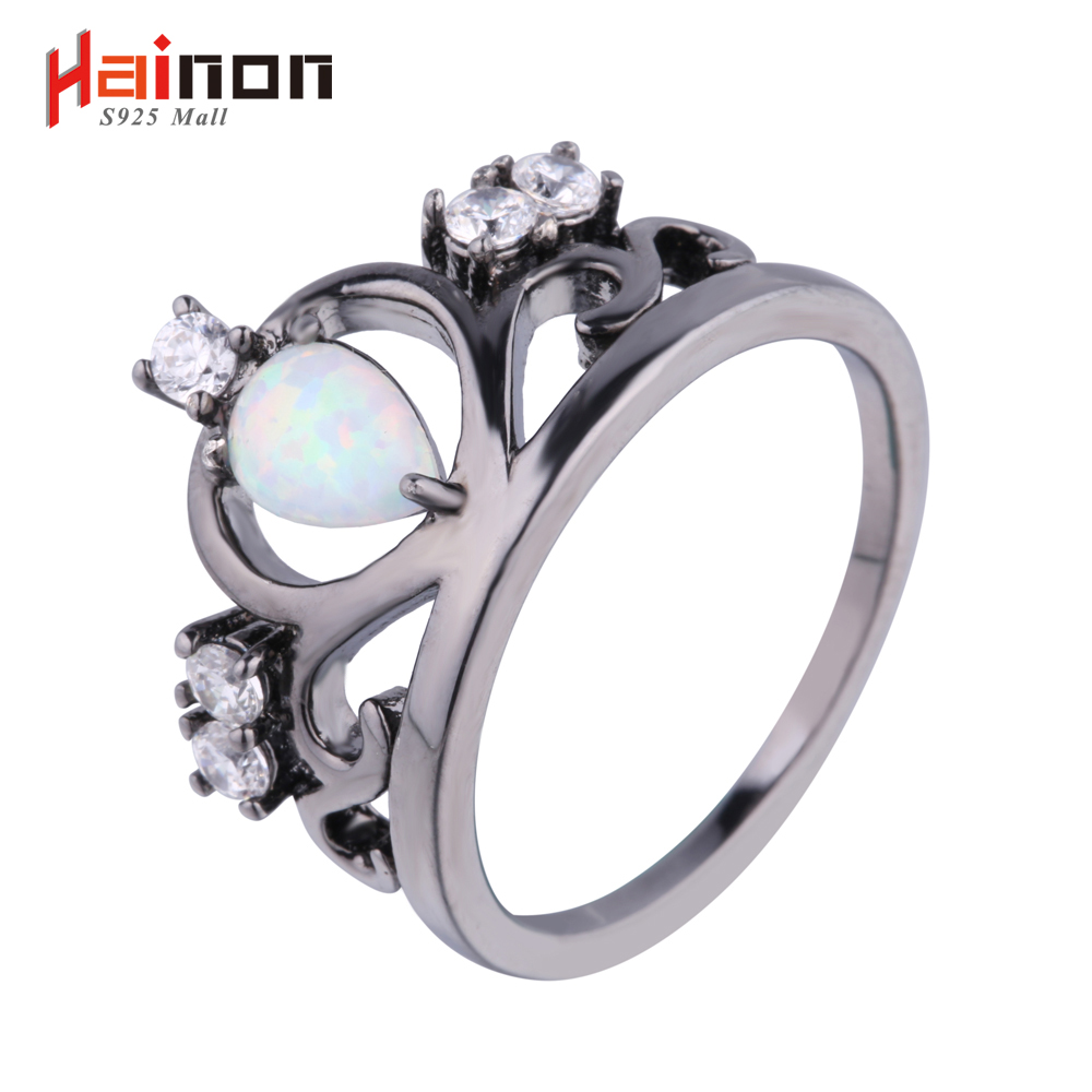 Ketibaan Baru Black Gun Plated Crown Elegant Shaped Api Opal Ring Dengan AAA Cubic Zircon Best Gift Wedding Ring White Opal