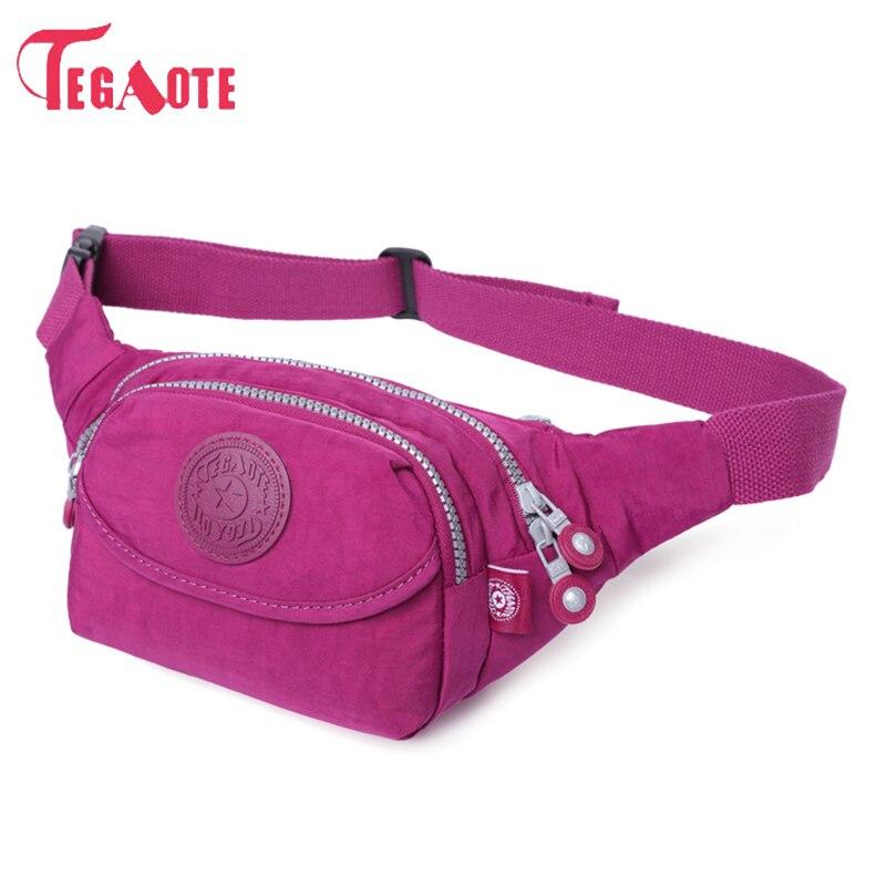 TEGAOTE Waist Bags Waterproof Men And Women Casual Travel Fashion Waist Pack Nylon Work Money Belt Travelling Mobile Phone Bag