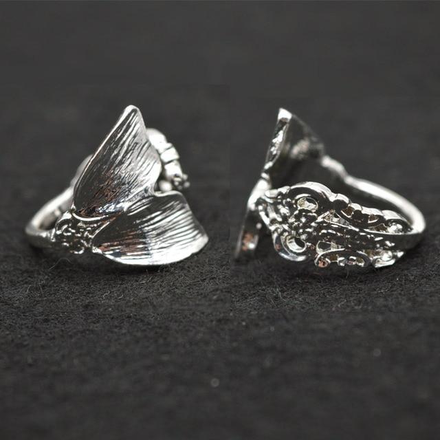 Dropshipping Silver Mermaid Ring Women Tiny Spoon Tail Ring Index Thumb Ring Ele