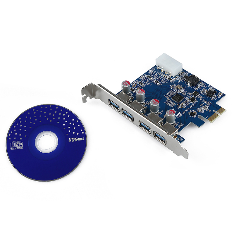 PROMOTION Hot 4 Port SuperSpeed USB 3 0 PCI E PCI Express Card with 4 pin